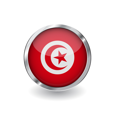 Flag of tunisia, button with metal frame and shadow. tunisia flag vector icon, badge with glossy effect and metallic border. Realistic vector illustration on white background.
