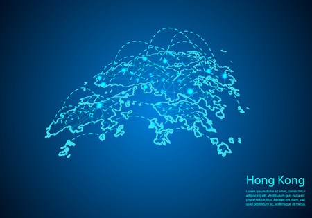 carte de Hong Kong avec des nœuds reliés par des lignes. concept de communication mondiale et d'affaires. Carte sombre de Hong Kong créée à partir de points blancs avec des lieux de voyage ou une connexion Internet. Vecteurs