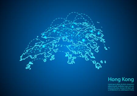 Mappa di Hong Kong con nodi collegati da linee. concetto di comunicazione globale e business. Mappa scura di Hong Kong creata da punti bianchi con località di viaggio o connessione Internet. Vettoriali