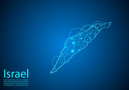 mappa di israele con nodi collegati da linee. concetto di comunicazione globale e business. Mappa di Israele scuro creata da punti bianchi con località di viaggio o connessione Internet. Vettoriali