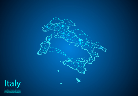 italy map with nodes linked by lines. concept of global communication and business. Dark italy map created from white dots with travel locations or internet connection.