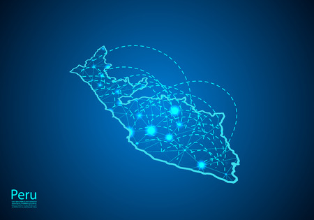 peru map with nodes linked by lines. concept of global communication and business. Dark peru map created from white dots with travel locations or internet connection.