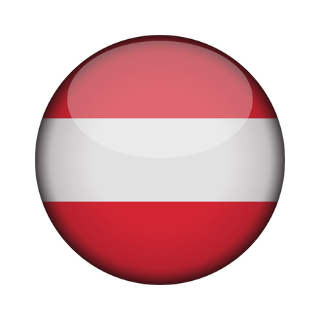 austria Flag in glossy round button of icon. austria emblem isolated on white background. National concept sign. Independence Day. Vector illustration. 向量圖像