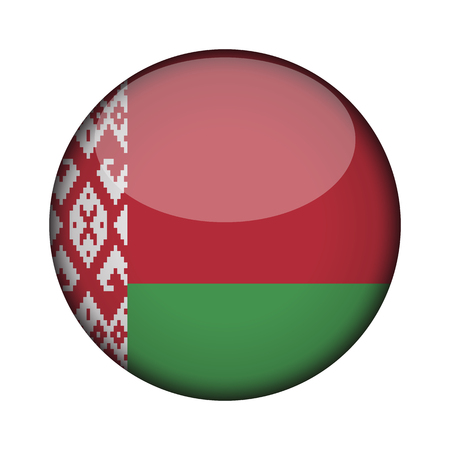 belarus Flag in glossy round button of icon. belarus emblem isolated on white background. National concept sign. Independence Day. Vector illustration.