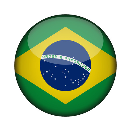 brazil Flag in glossy round button of icon. brazil emblem isolated on white background. National concept sign. Independence Day. Vector illustration.