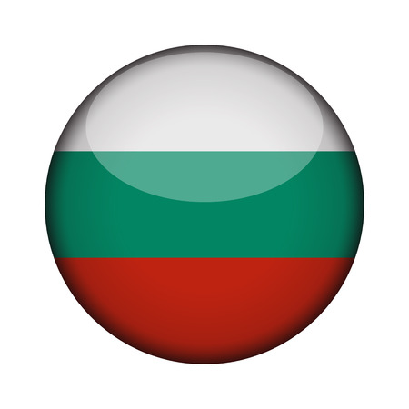 bulgaria Flag in glossy round button of icon. bulgaria emblem isolated on white background. National concept sign. Independence Day. Vector illustration. 向量圖像