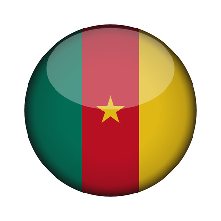 cameroon Flag in glossy round button of icon. cameroon emblem isolated on white background. National concept sign. Independence Day. Vector illustration.