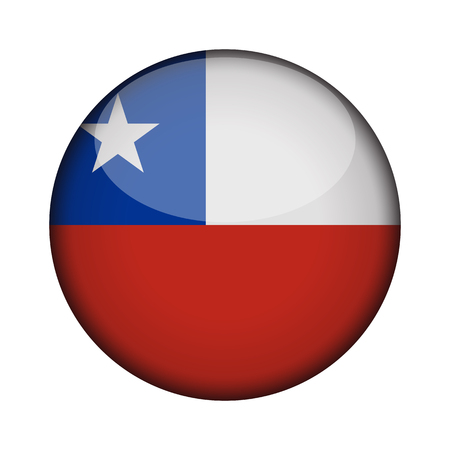 chile Flag in glossy round button of icon. chile emblem isolated on white background. National concept sign. Independence Day. Vector illustration.