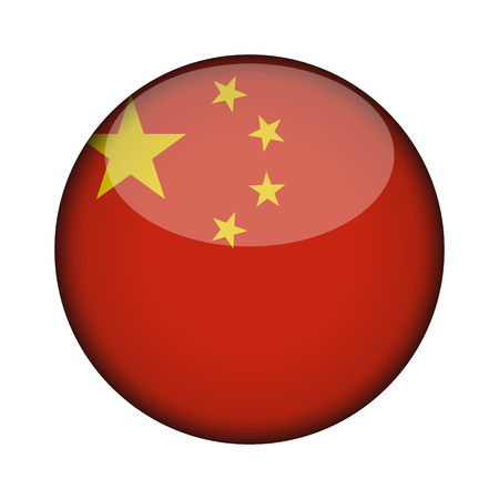 china Flag in glossy round button of icon. china emblem isolated on white background. National concept sign. Independence Day. Vector illustration.