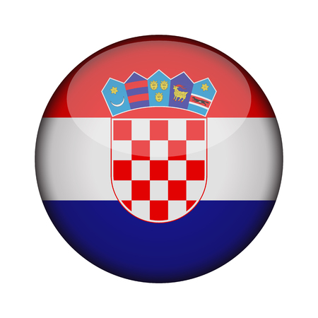 croatia Flag in glossy round button of icon. croatia emblem isolated on white background. National concept sign. Independence Day. Vector illustration. Stock Vector - 115340185