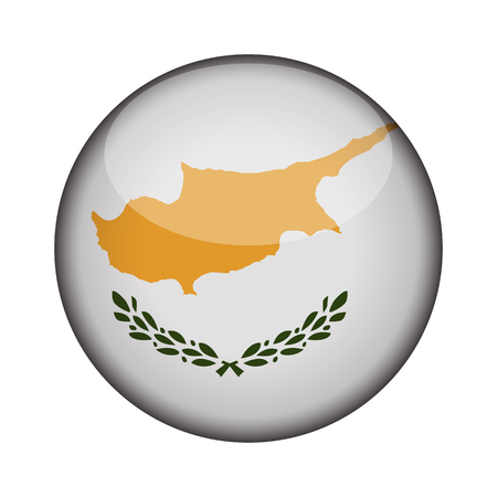 cyprus Flag in glossy round button of icon. cyprus emblem isolated on white background. National concept sign. Independence Day. Vector illustration.