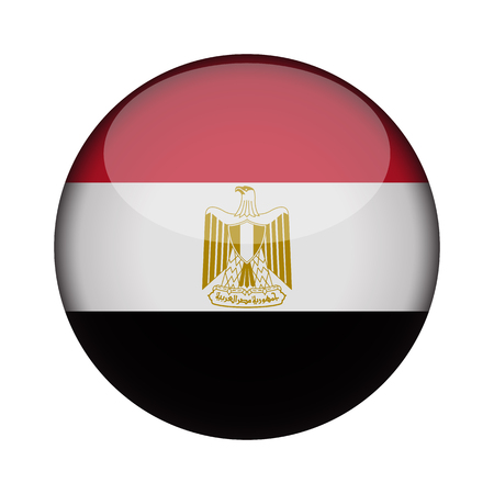 egypt Flag in glossy round button of icon. egypt emblem isolated on white background. National concept sign. Independence Day. Vector illustration.