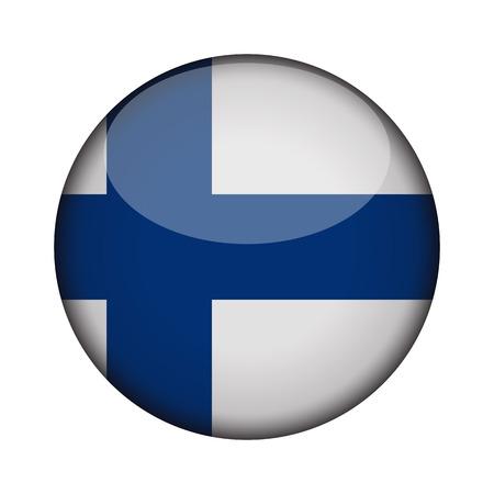Finnland-Flag in glänzend runden Schaltfläche des Symbols. Finnland-Emblem isoliert auf weißem Hintergrund. Nationales Konzeptzeichen. Tag der Unabhängigkeit. Vektor-Illustration. Vektorgrafik