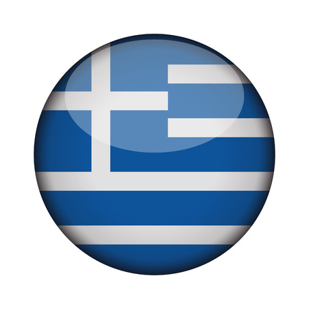 greece Flag in glossy round button of icon. greece emblem isolated on white background. National concept sign. Independence Day. Vector illustration.