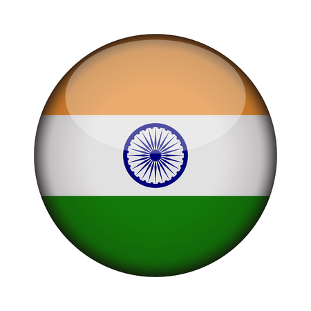 india Flag in glossy round button of icon. india emblem isolated on white background. National concept sign. Independence Day. Vector illustration.
