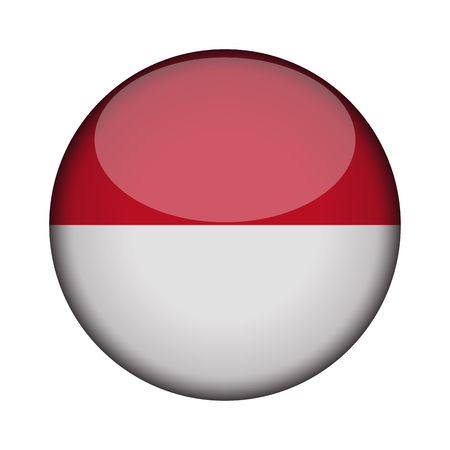 indonesia Flag in glossy round button of icon. indonesia emblem isolated on white background. National concept sign. Independence Day. Vector illustration.