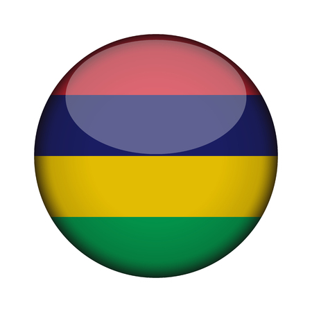 mauritius Flag in glossy round button of icon. mauritius emblem isolated on white background. National concept sign. Independence Day. Vector illustration.