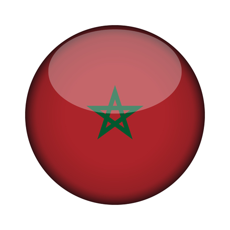 morocco Flag in glossy round button of icon. morocco emblem isolated on white background. National concept sign. Independence Day. Vector illustration.
