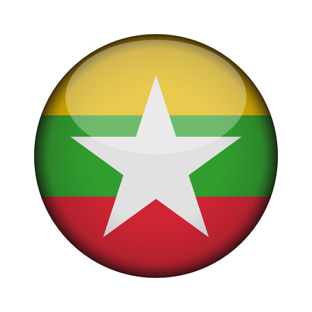 myanmar Flag in glossy round button of icon. myanmar emblem isolated on white background. National concept sign. Independence Day. Vector illustration. 向量圖像