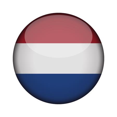 bandiera olandese nel pulsante rotondo lucido dell'icona. emblema dei Paesi Bassi isolato su priorità bassa bianca. Segno di concetto nazionale. Giorno dell'Indipendenza. Illustrazione vettoriale.