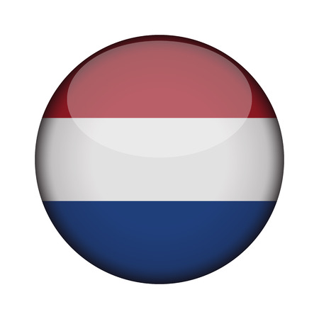 netherlands Flag in glossy round button of icon. netherlands emblem isolated on white background. National concept sign. Independence Day. Vector illustration.