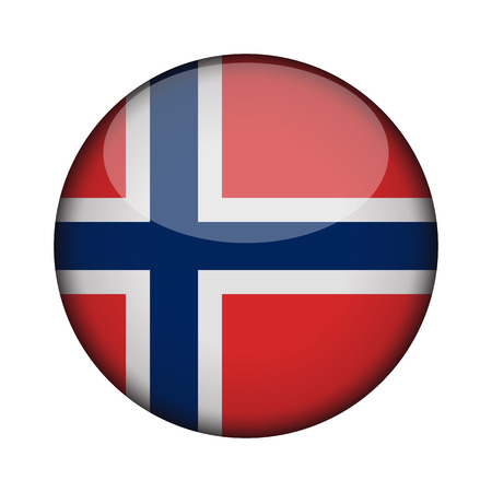 norway Flag in glossy round button of icon. norway emblem isolated on white background. National concept sign. Independence Day. Vector illustration.