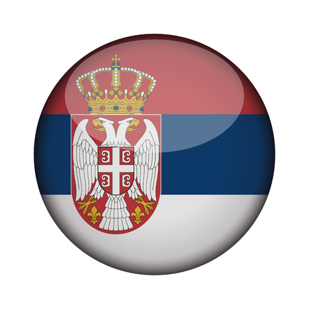 serbia Flag in glossy round button of icon. serbia emblem isolated on white background. National concept sign. Independence Day. Vector illustration.