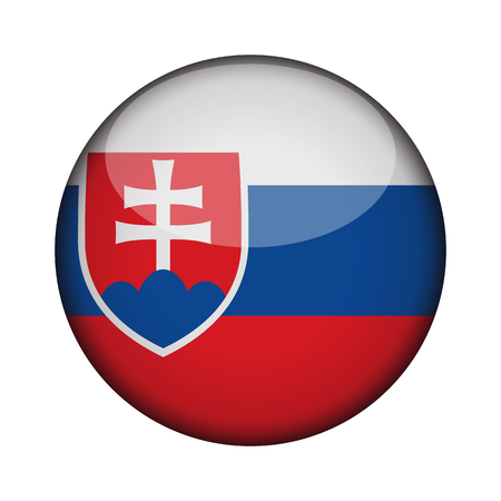 slovakia Flag in glossy round button of icon. slovakia emblem isolated on white background. National concept sign. Independence Day. Vector illustration.