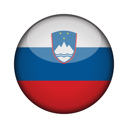 slovenia Flag in glossy round button of icon. slovenia emblem isolated on white background. National concept sign. Independence Day. Vector illustration. Ilustrace