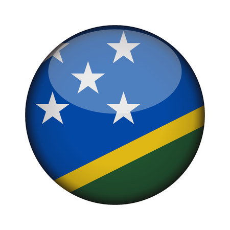 solomon islands Flag in glossy round button of icon. solomon islands emblem isolated on white background. National concept sign. Independence Day. Vector illustration. Illusztráció