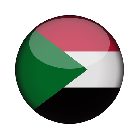 sudan Flag in glossy round button of icon. sudan emblem isolated on white background. National concept sign. Independence Day. Vector illustration. Illustration