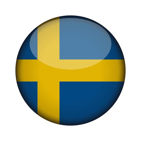 Schweden-Flagge in glänzend runden Schaltfläche des Symbols. Schweden-Emblem isoliert auf weißem Hintergrund. Nationales Konzeptzeichen. Tag der Unabhängigkeit. Vektor-Illustration.