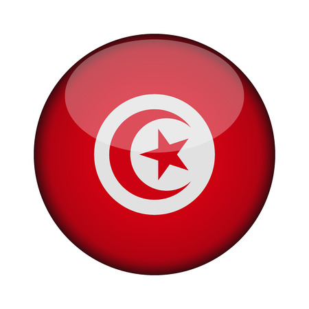 tunisia Flag in glossy round button of icon. tunisia emblem isolated on white background. National concept sign. Independence Day. Vector illustration. Ilustração Vetorial