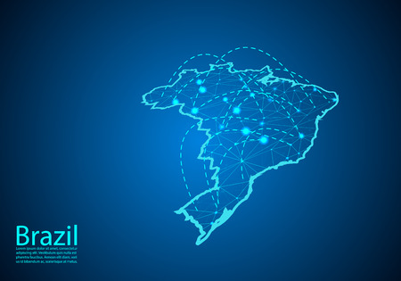 brazil map with nodes linked by lines. concept of global communication and business. Dark brazil map created from white dots with travel locations or internet connection. Vecteurs