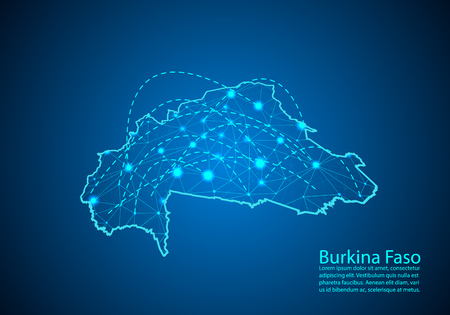 burkina Faso map with nodes linked by lines. concept of global communication and business. Dark burkina Faso map created from white dots with travel locations or internet connection.