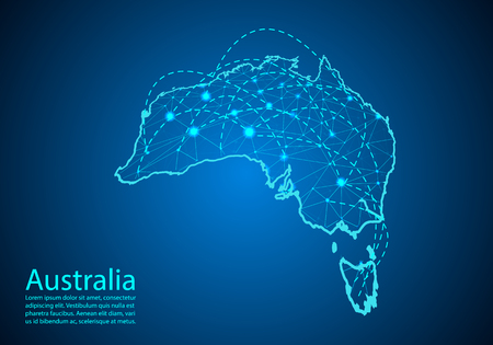 australia map with nodes linked by lines. concept of global communication and business. Dark australia map created from white dots with travel locations or internet connection.