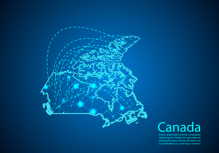 canada map with nodes linked by lines. concept of global communication and business. Dark canada map created from white dots with travel locations or internet connection.