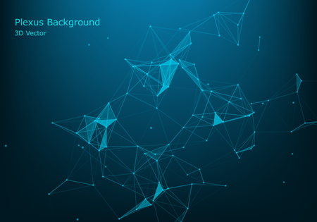 Abstract vector particles and lines. Plexus effect. Futuristic illustration. Polygonal Cyber Structure. Data Connection Concept.