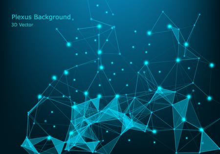 Network connection concept blue vector illustration. Futuristic hexagon perspective wide angle lanscape. Futuristic honeycomb concept. 3d landscape. Big data digital background. - Vector