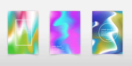 Set of modern futuristic posters with holographic geometric figures for music event. Vaporwave/ synthwave style. - Vector