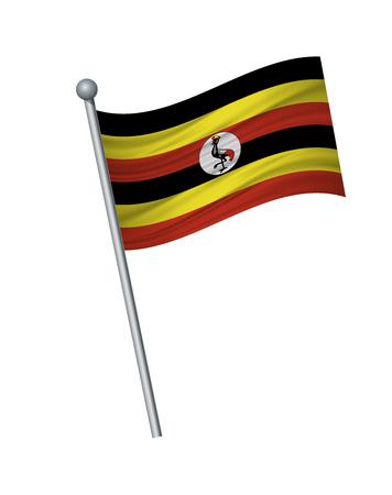 Uganda flag on the flagpole. Official colors and proportion correctly. waving of Uganda flag on flagpole, vector illustration isolate on white background.