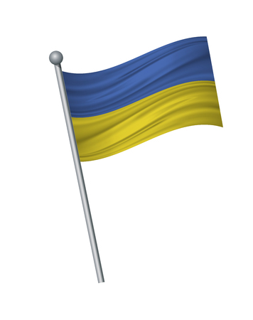 Ukraine flag on the flagpole. Official colors and proportion correctly. waving of Ukraine flag on flagpole, vector illustration isolate on white background.