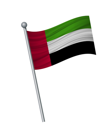 United Arab Emirates flag on the flagpole. Official colors and proportion correctly. waving of United Arab Emirates flag on flagpole, vector illustration isolate on white background.