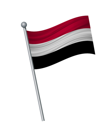 Yemen flag on the flagpole. Official colors and proportion correctly. waving of Yemen flag on flagpole, vector illustration isolate on white background.