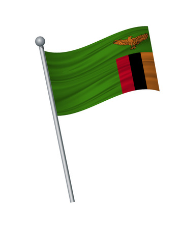 Zambia flag on the flagpole. Official colors and proportion correctly. waving of Zambia flag on flagpole, vector illustration isolate on white background.