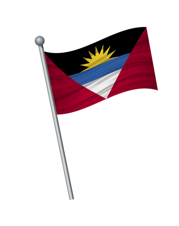 Antigua and Barbuda flag on the flagpole. Official colors and proportion correctly. waving of Antigua and Barbuda flag on flagpole, vector illustration isolate on white background.