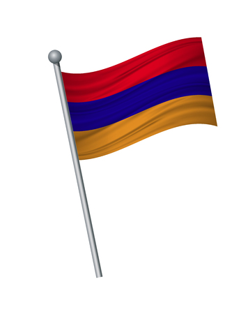 Armenia flag on the flagpole. Official colors and proportion correctly. waving of Armenia flag on flagpole, vector illustration isolate on white background.