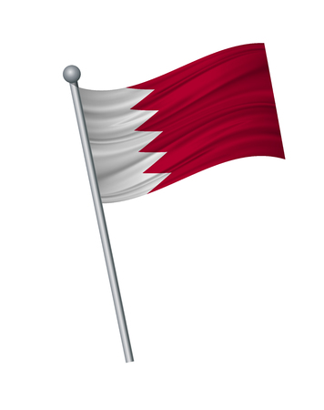 bahrain flag on the flagpole. Official colors and proportion correctly. waving of bahrain flag on flagpole, vector illustration isolate on white background.