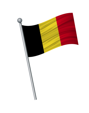 Belgium flag on the flagpole. Official colors and proportion correctly. waving of Belgium flag on flagpole, vector illustration isolate on white background.