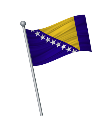 Bosnia flag on the flagpole. Official colors and proportion correctly. waving of Bosnia flag on flagpole, vector illustration isolate on white background.
